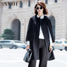 Amii Casual Women Woolen Coat 2017 Winter Cloak Solid Covered Button Female Wool Blends(China)