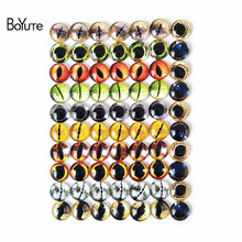 BoYuTe 70Pcs Round 10MM Cabochon Eye Image Mix Glass Stone Cabochon Diy Accessories Parts