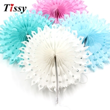 5PCS 8''(20CM) Snowflake Tissue Hollow Paper Fans Pinweels Hanging Kids Birthday/Wedding Party Decoration Baby Shower Supplies(China)