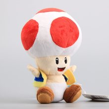 "NEW Super Mario Bros Mushroom Toad Plush Toys Red Color Soft Dolls Children Soft Toys 7"" 18 CM(China)"