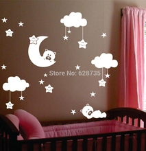 "Large size 72"" x 62"" baby nursery room moon and star vinyl wall stickers, cute smiling stars with white clouds baby room decor(China)"