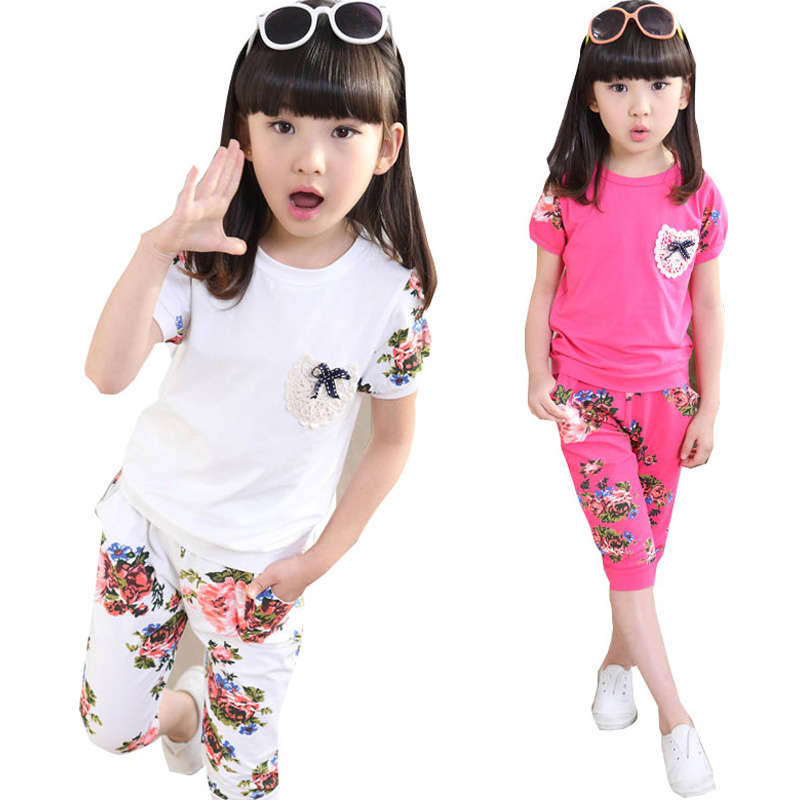 VOLALO Girls Summer Cotton Flower Short Sleeved Sport Suit Children Leisure Sports Two pieces Shorts and Pants Sets<br><br>Aliexpress