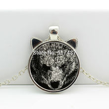 2017 New Gray Bear Pendant Bear Necklace Jewelry Glass Photo Cabochon Necklace HZ2-00515
