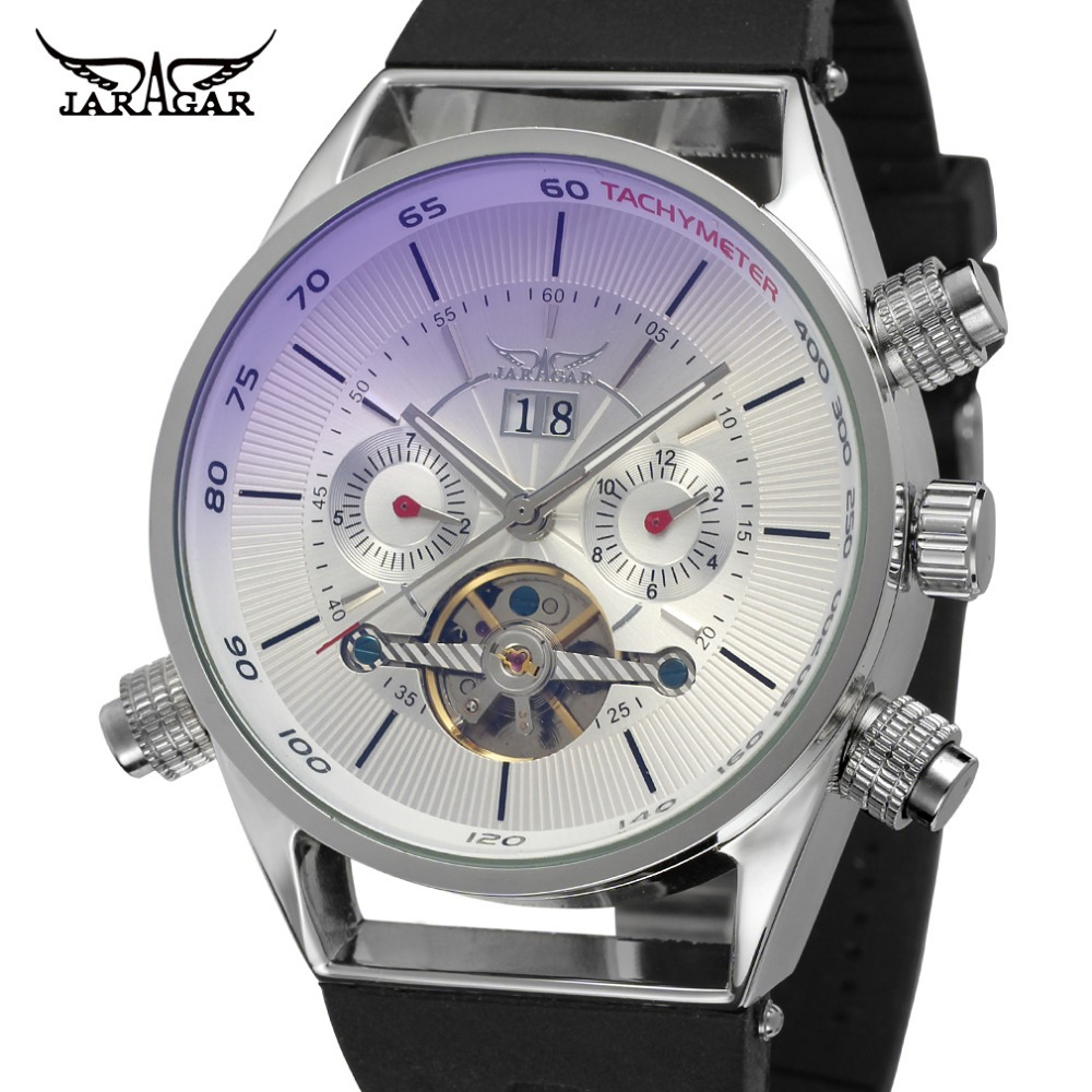 JARGAR JAG448M3S2 NEWEST DESIGN FOR  MEN AUTOMATIC WATCH WITH silver color case&amp;dial black plastic band FREE SHIPPING<br>