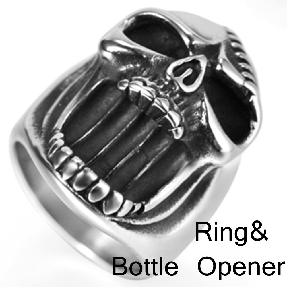 แหวนเก๋ๆ Code 038 แหวนกะโหลกวินเทจพังก์ สแตนเลส ใช้เปิดขวดได้8