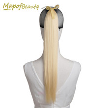 "22"" Long Straight synthetic Ponytail 18 colors white blonde green pink Pony tail hair extensions Ribbon drawstring MapofBeauty(China)"