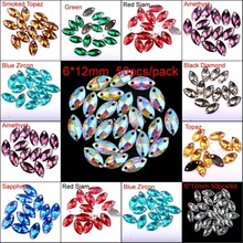 6x12mm Leaf Shape Marquise Multi-colored Silver Base Sew On Rhinestone Beads Sewing On Horse Eye Stones Two Holes