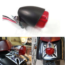 Motorcycle Black Mini LED Rear Stop Tail Brake Light For Harley Bobber Cruiser Chopper Custom