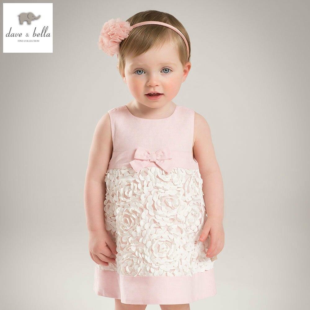 DB5150 dave bella summer baby girls princess dress baby flower dress kids birthday clothes dress girls lolita dress<br>
