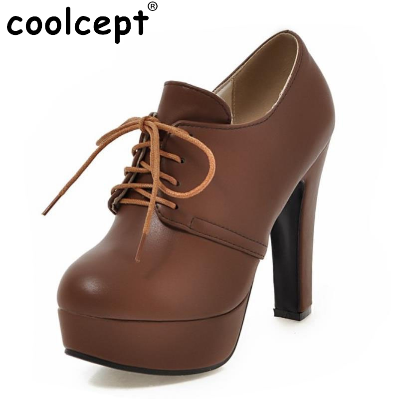 Size 31-47 Ladies High Heels Pumps Platform Round Toe Cross Strap  Thick High Heel Shoes Women Fashion Office Lady Footwear<br>
