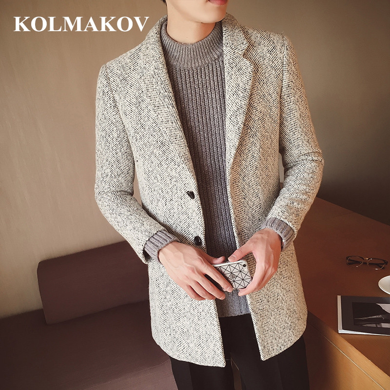 KOLMAKOV 2019 New Spring Men's Jacket Casual Wool Jackets High Quality Homme Classic Solid Overcoats Men Dress M,L,XL,XXL