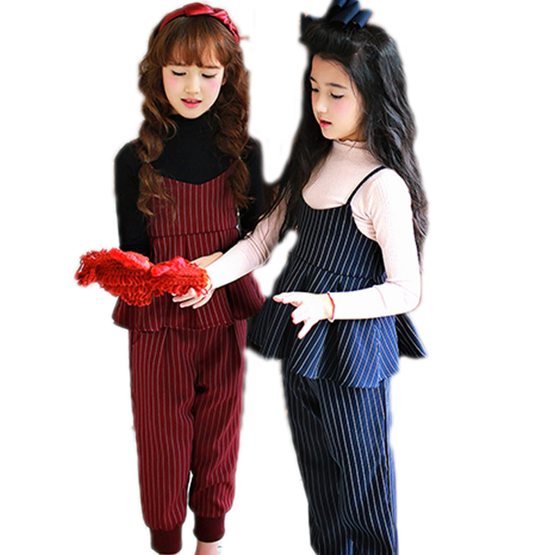 children clothing sets 2017 new fashion striped overall vest+receiving leg pants 2pcs girls outfits girls clothing sets 2-10T<br>