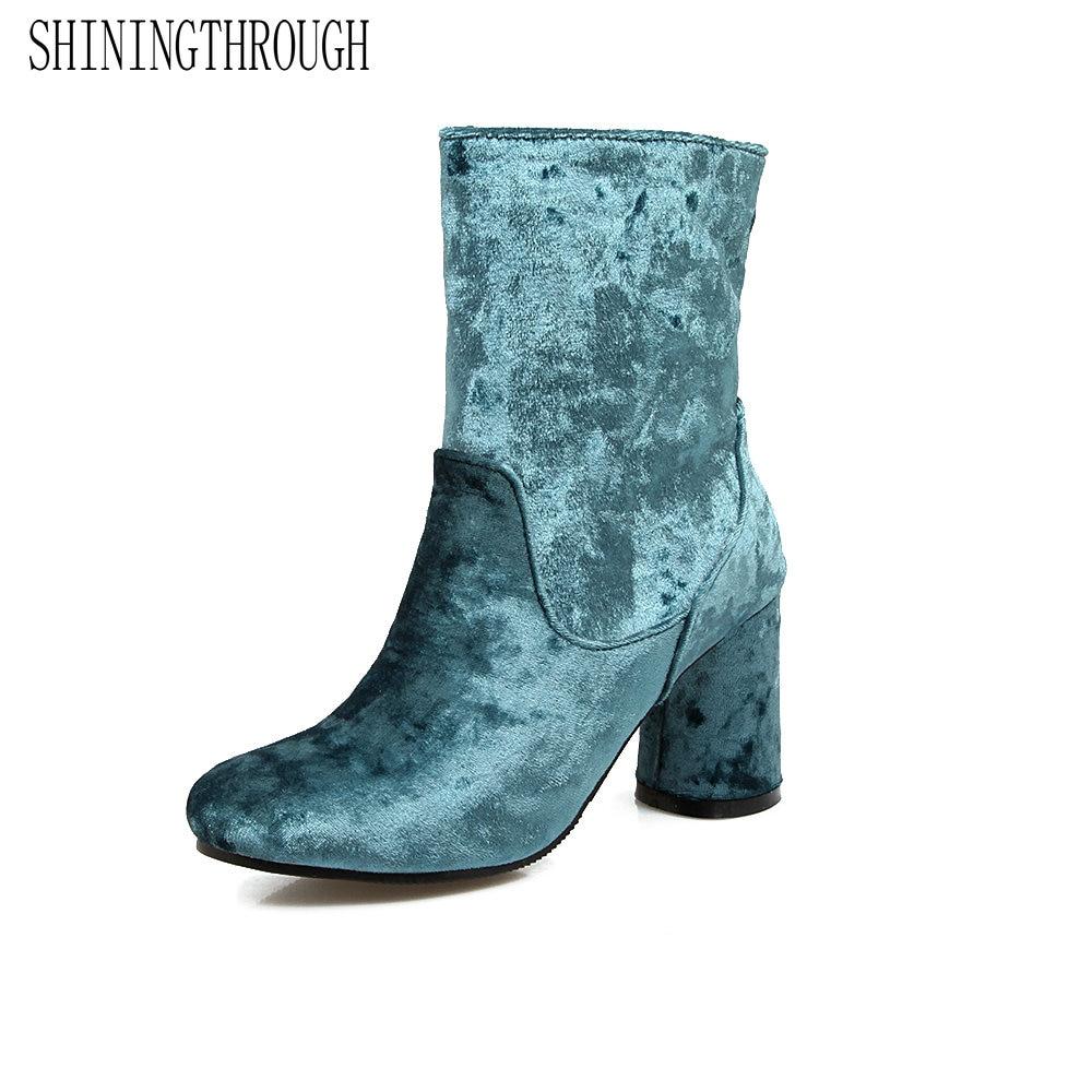 SHININGTHROUGH 2018 new fashion women ankle boots autumn pleuche square high heel retro shoes black blue gray<br>