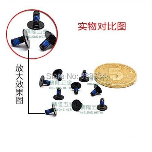 100pcs M2*4 steel with black zinc with blue Nylok blue patch thin flat head laptop screw<br><br>Aliexpress