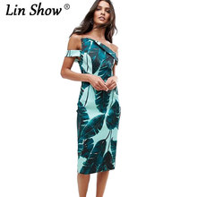 LINSHOW Off Shoulder Printed Summer Dresses Casual Ladies Sheath Slim Self Portrait Dress Fashion Beach 2017 Party Dress Women(China)