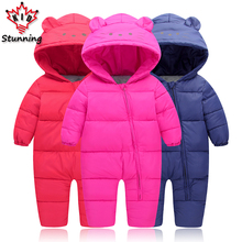 6-24M Snow Wear Baby Boys Girls Rompers Down Coats Winter 2017 Baby Clothing Cotton Girls Coats Fashion Baby Outerwear & Coats(China)