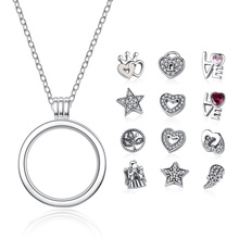 BAMOER Genuine 925 Sterling Silver Medium Petite Memories Floating Locket Necklaces & Pendants Sterling Silver Jewelry PSF001(China)