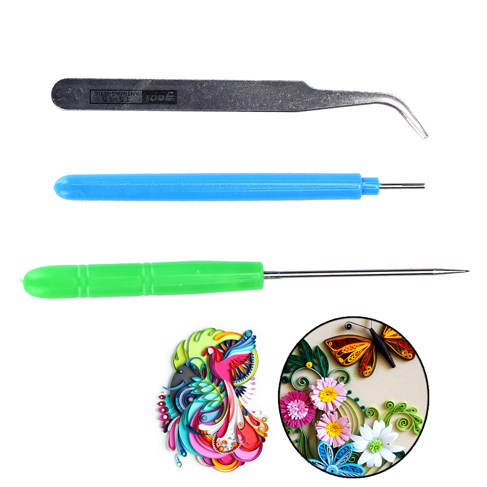 3Pcs/Set Handmade Kit Flower DIY Paper Quilling Tool Tweezer+Slotted +Needle Fabric Tools Paper Craft For Kid Scrapbooking