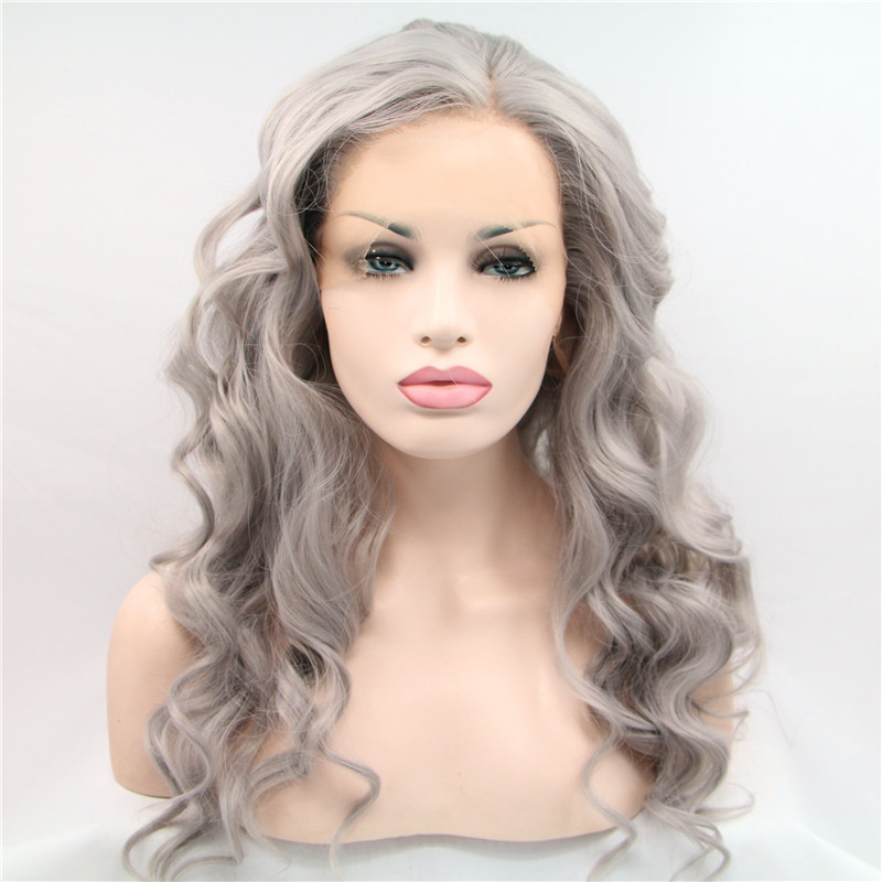 Factory direct grey synthetic lace front wig premium body wave hair wig for women heat resistant drag queen hair in stock<br><br>Aliexpress