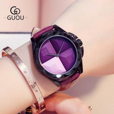 New Products Fashion Watch Women Ladies Luxury Brand GUOU Watches Leather Strap Quartz Wrist Watch reloj mujer relogio feminino<br>