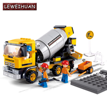 LEWEIHUAN Building block set cement mixer new engineering 296p 3D Construction Brick Educational Hobbies Toys for Kid
