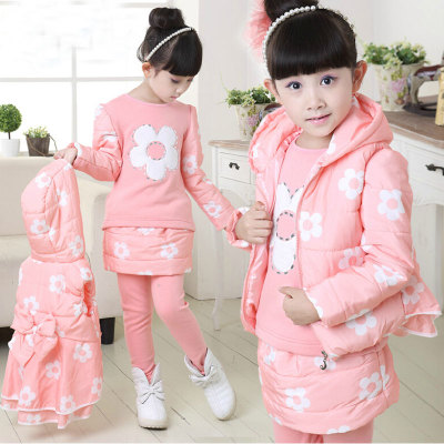 The new childrens wear girls winter three-piece fleece and wool thickening cotton-padded clothes suit children movement<br>