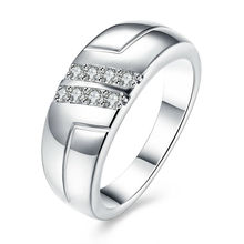 Wholesale and Nobleness Silver Double Rows Cubic Zircon Women Bridal Wedding Engagement Carter Rings For Best Friend Jewelry