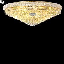 gold Ceiling Lights modern flush mount crystal lamp bedroom lamp corridor lights the hall light retro D106cm x H37cm(China)