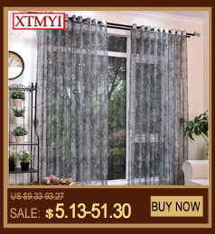 Modern tulle curtains for living room bedroom kitchen curtains yellow floral Window Treatment Curtain Panel Drape