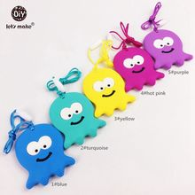 Let's Make Silicone Octopus Teether Baby BPA Free 5pc Safe And Natural Silicone Animals Teether Toys Teether Necklace Pendant(China)