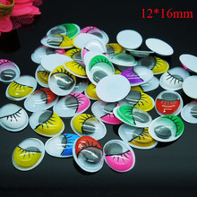 200pcs/lot Oval Random mixed Color With the Eyelashes Eye Activities Moving Eyes Plastic Eyes For Doll Toy 12*16mm(China)