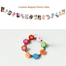 2pcs 3M Hanging Photo Rope Silver Magnetic Cable Photo Or Card Holder With 16 cartoon wooden Heronsbill  Image Magnet
