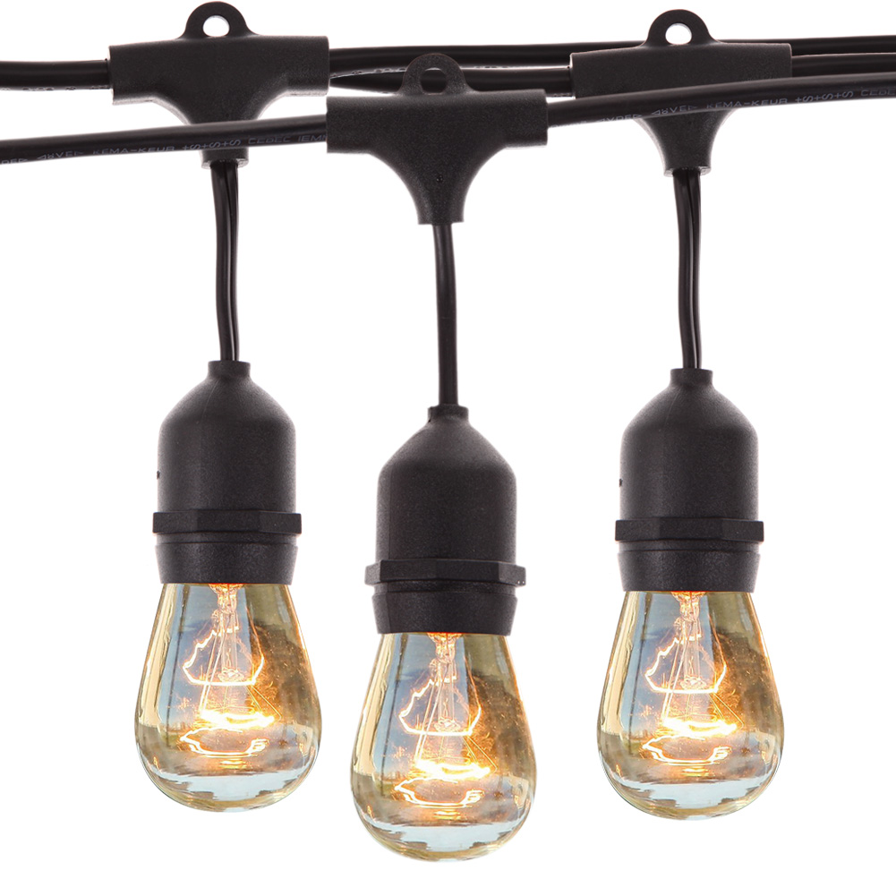 Waterproof 9m Vintage Patio Globe String Lights Black Cord, Clear Glass Bulbs 30 Decorative Outdoor Garland Wedding<br>