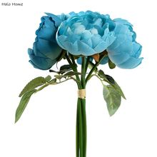 1 Bunch Blue Rose Silk Artificial Flower For Garden Festival Celebrations Party Wedding Home Public places Decor 28cm