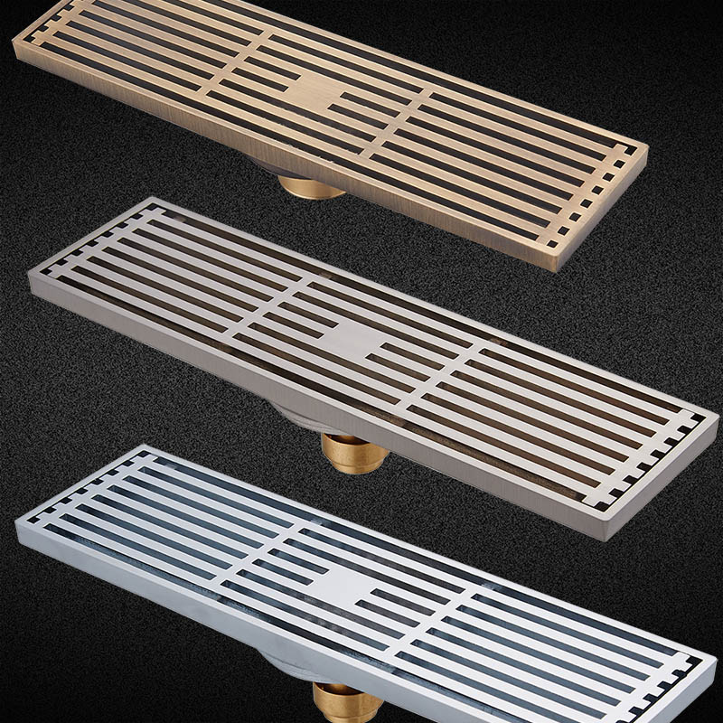 Quality Brass 8 X 30cm Brushed Nickel Antique Bathroom Linear Shower Floor Drain Chrome Wire Strainer Waste Drainer Wholesale <br><br>Aliexpress