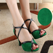 Ballroom latin dance shoes Low discount Flock Import suede Cowhide soft Sole Wear non-slip The floor is special For Women Girl