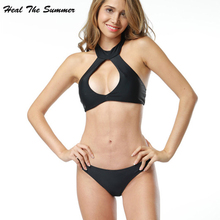 Heal The Summer 2017 New Women Bikini Swimwear Set Swimsuit black Have Pad Female Sexy cute Bikini Set Beachwear Bathing Suit(China)