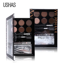 USHAS Brand Eyebrow Makeup Set Eye brow Powder Brow Pencil Matte Eyeshadow Cream Concealer Eyebrow Brush Bronzer Contour Palette(China)