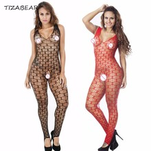 Buy Sexy Lingerie Hot Erotic Underwear Open Crotch Bodystocking Fishnet Sleepwear Bodysuit Women Plus Size Sheer Nylon Body WY121