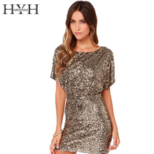 HYH HAOYIHUI Solid Gold Women Dress Golden Sequin Cut Out Backless Sexy Vestidos Crew Neck Short Sleeve Elegant Mini Dress(China)