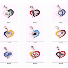 Chiefs Redskins texans Colt Lions Chargers Panthers Eagles Falcons team logo swirl heart Pendant DIY Necklace or Bracelet(China)