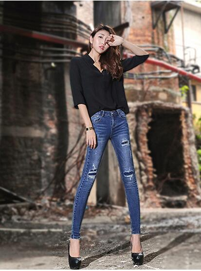 Fashion autumn occident style vintage blue bodycon pencil sheath cowboy women denim pants bleached ripped scratched jeans 3D155Одежда и ак�е��уары<br><br><br>Aliexpress