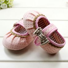 Cute Kids Infant Toddler Baby Girls Shoes Pink Black Dot Bow Soft Sole Crib Shoes