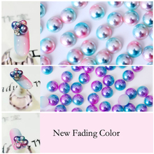 New Arrival 3mm,4mm,5mm,6mm,8mm Two-color Flatback Imitation Pearl Beads Pink ABS Plastic Half Round Pearls For Mobile DIY Y3837(China)