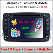 2Din Steering Wheel Mercedes/Benz/W209/203 Car DVD Player Android 7.11 Quad Core FM GPS Navigation Radio RDS WIFI Stereo 3G