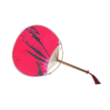Profile Silk Round Paper Fan with Bamboo Handle Chinese Traditional Handwork Crafts Classical Round Silk Fans
