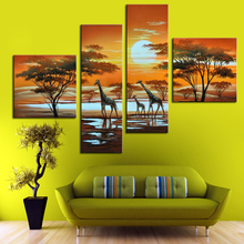 Exquisite Ornament Picture Hand Painted Landscape Oil Paintings African Giraffe Life 4 Panel Canvas Art Household Decor Painting