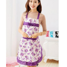 2016 Cooking Aprons For Women With Pocket Bow Rose Print Kitchen Accessories Kitchen Apron