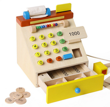 Wooden Supermarkets Small Cash Register Kids Children Pretend Play Educational Toys(China)