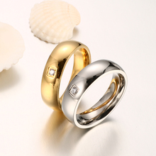 JOVO High Polished Gold/Silver Rings for Men Women Jewelry High Quality Steel Simple Rings Design with Charm CZ Paved